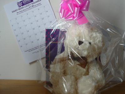 A Cancer Support Yorkshire Daisy Bear Lucky Squares Competition entry sheet and teddy bear prize