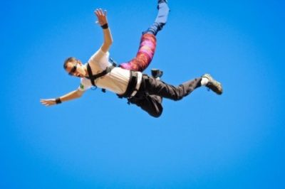 A person skydiving