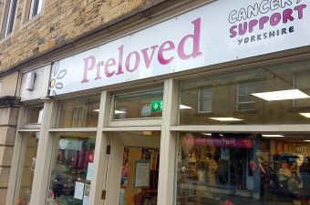 A view of the outside of the Cancer Support Yorkshire Preloved Shop