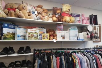 Items for sale in the Cancer Support Yorkshire charity shop